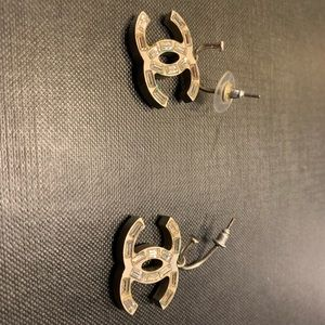 Chanel Reversible Logo Silver Crystal  Earrings